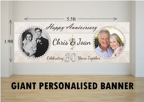 Personalised GIANT Large 30th Pearl Wedding Anniversary PHOTO Poster Banner N15